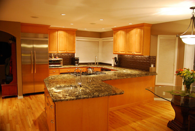 "After: ""Stormy night"" granite slab counter tops"